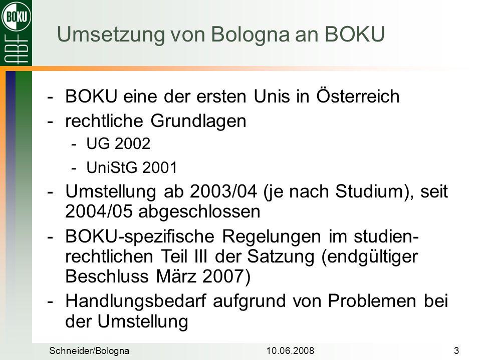 Umsetzung von Bologna an BOKU
