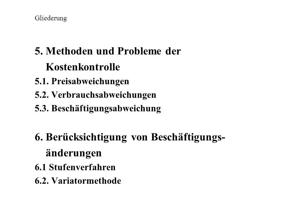 5. Methoden und Probleme der Kostenkontrolle