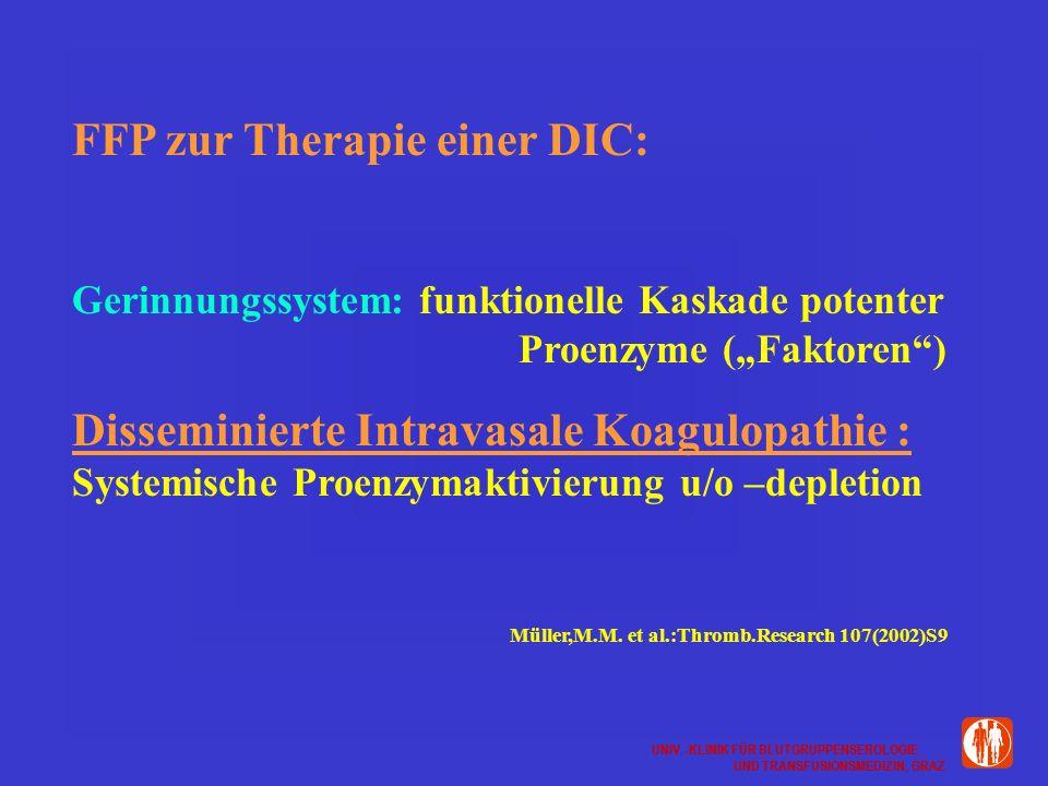 FFP zur Therapie einer DIC: