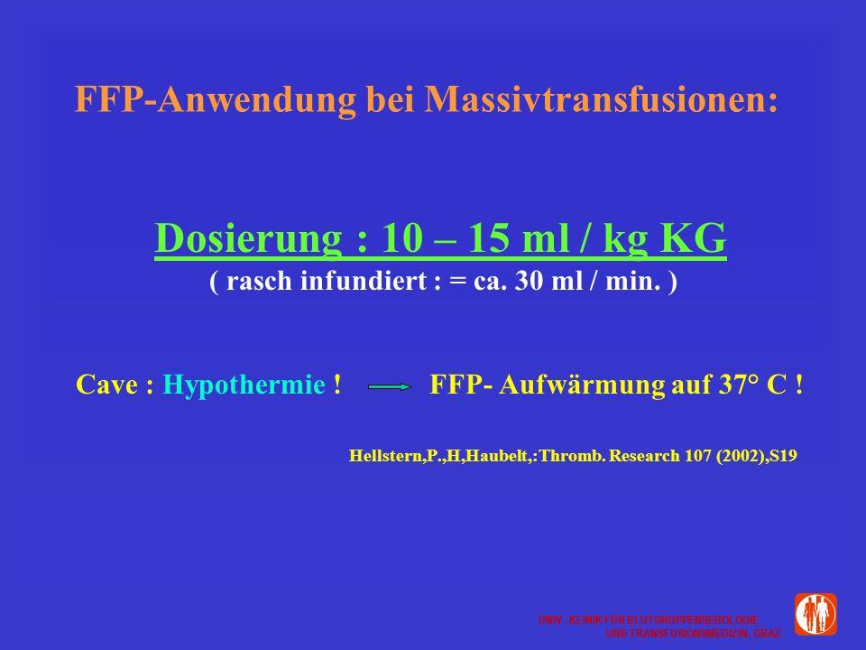 FFP-Anwendung bei Massivtransfusionen: