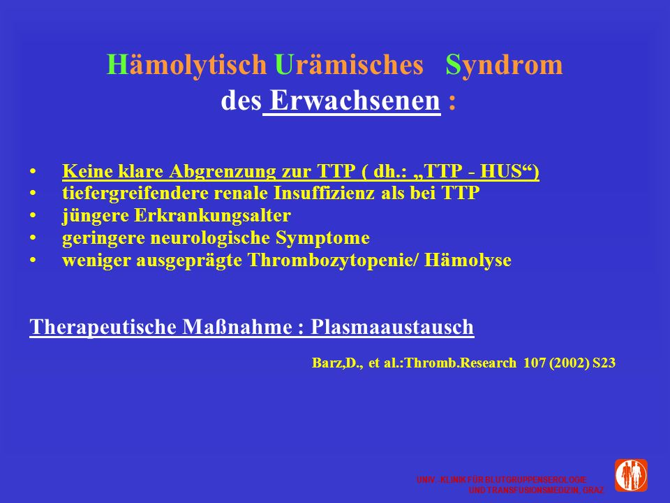 Hämolytisch Urämisches Syndrom des Erwachsenen :