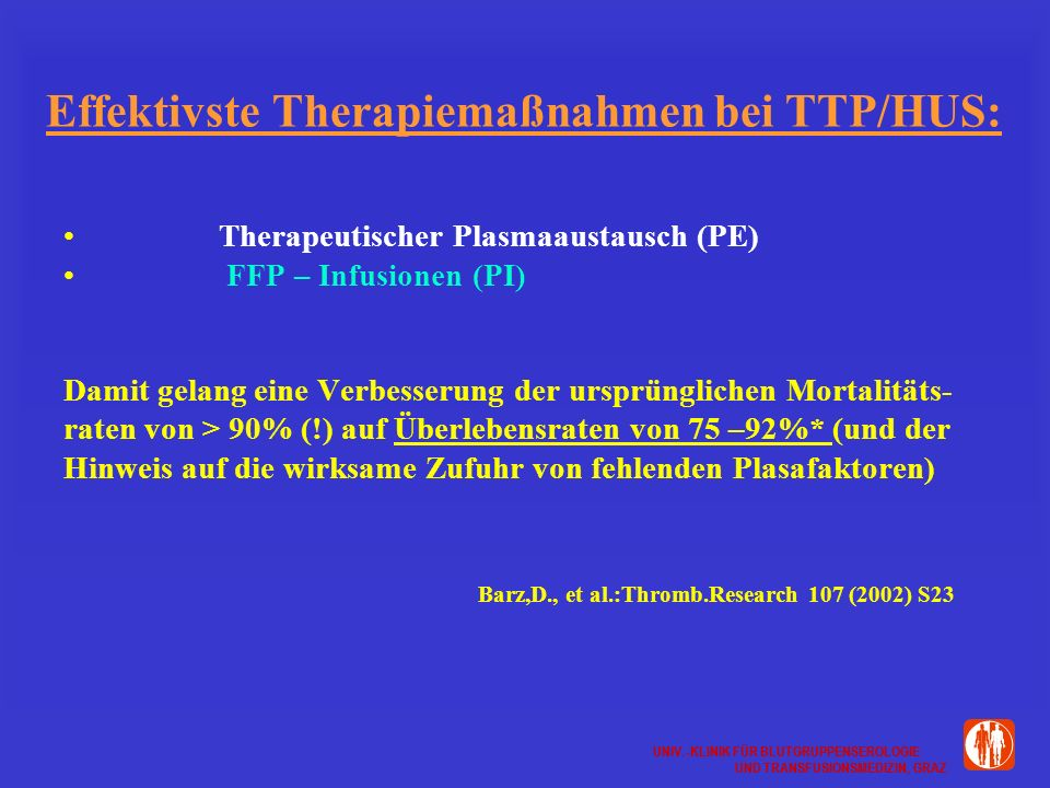 Effektivste Therapiemaßnahmen bei TTP/HUS: