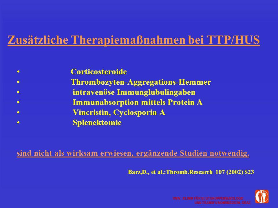 Zusätzliche Therapiemaßnahmen bei TTP/HUS
