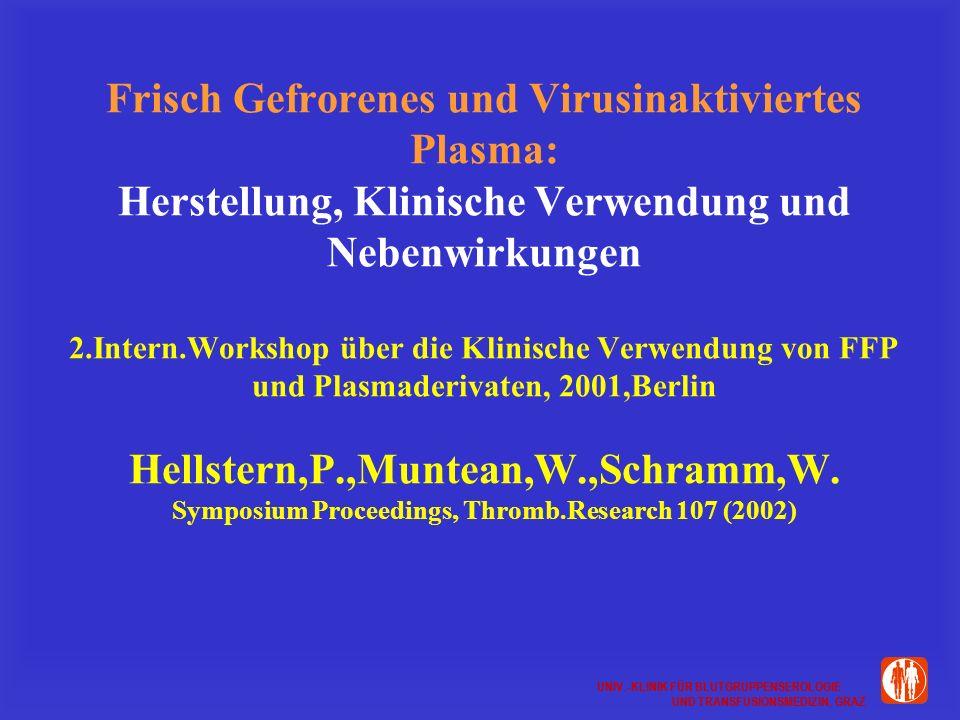 Frisch Gefrorenes und Virusinaktiviertes Plasma: Herstellung, Klinische Verwendung und Nebenwirkungen 2.Intern.Workshop über die Klinische Verwendung von FFP und Plasmaderivaten, 2001,Berlin Hellstern,P.,Muntean,W.,Schramm,W.