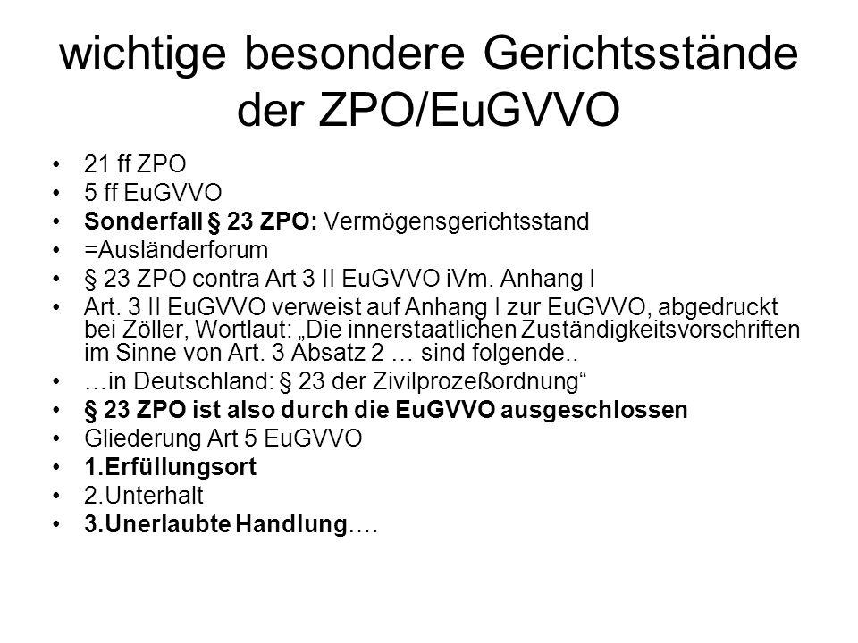 wichtige besondere Gerichtsstände der ZPO/EuGVVO