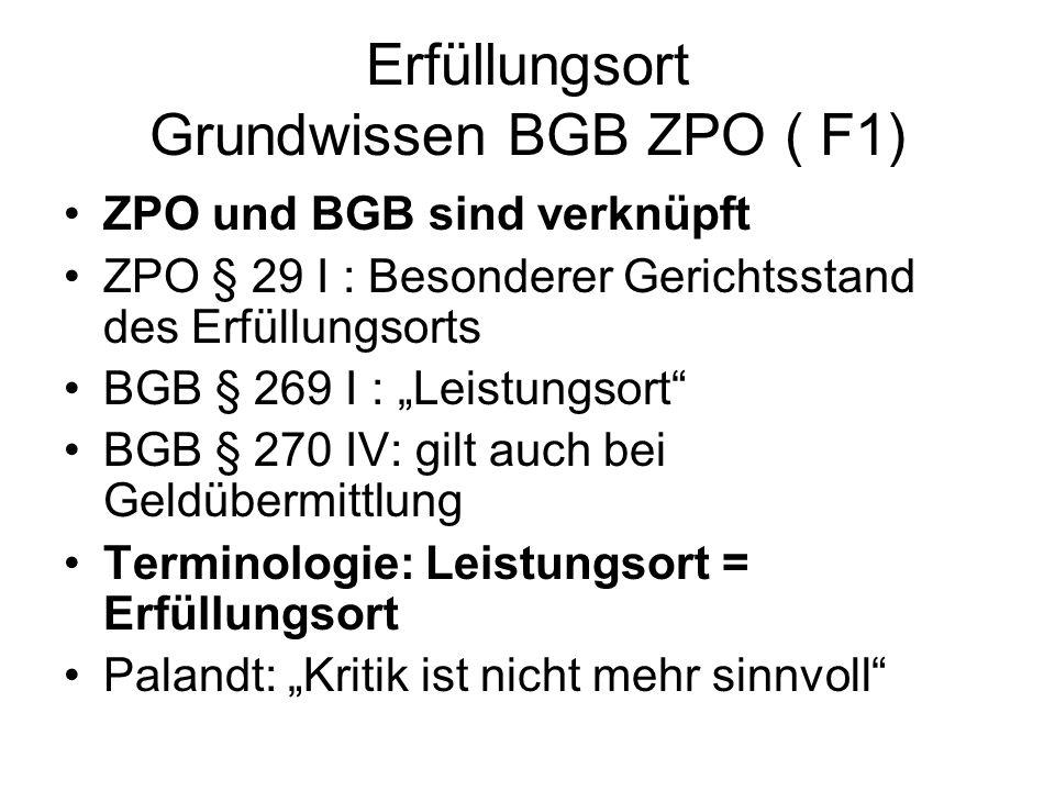 Erfüllungsort Grundwissen BGB ZPO ( F1)