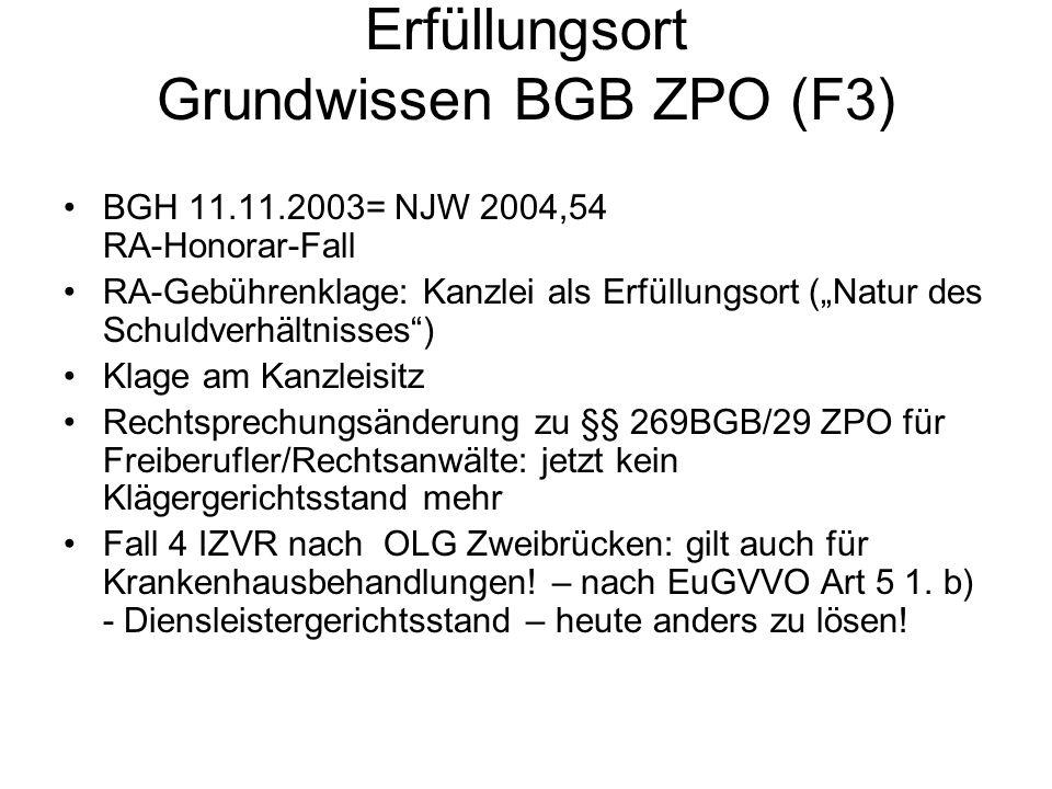 Erfüllungsort Grundwissen BGB ZPO (F3)