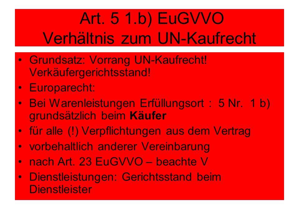 Art. 5 1.b) EuGVVO Verhältnis zum UN-Kaufrecht