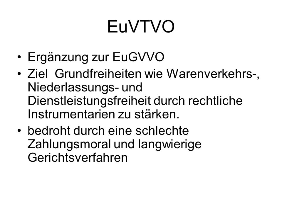 EuVTVO Ergänzung zur EuGVVO