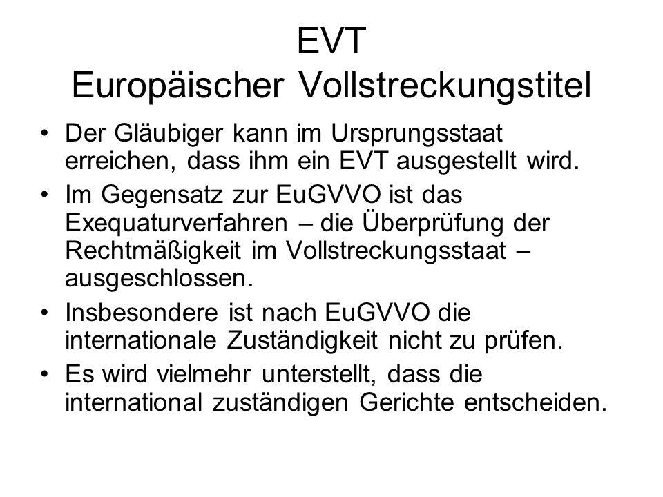 EVT Europäischer Vollstreckungstitel
