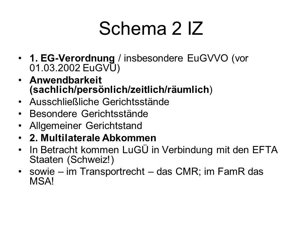 Schema 2 IZ 1. EG-Verordnung / insbesondere EuGVVO (vor 01.03.2002 EuGVÜ) Anwendbarkeit (sachlich/persönlich/zeitlich/räumlich)