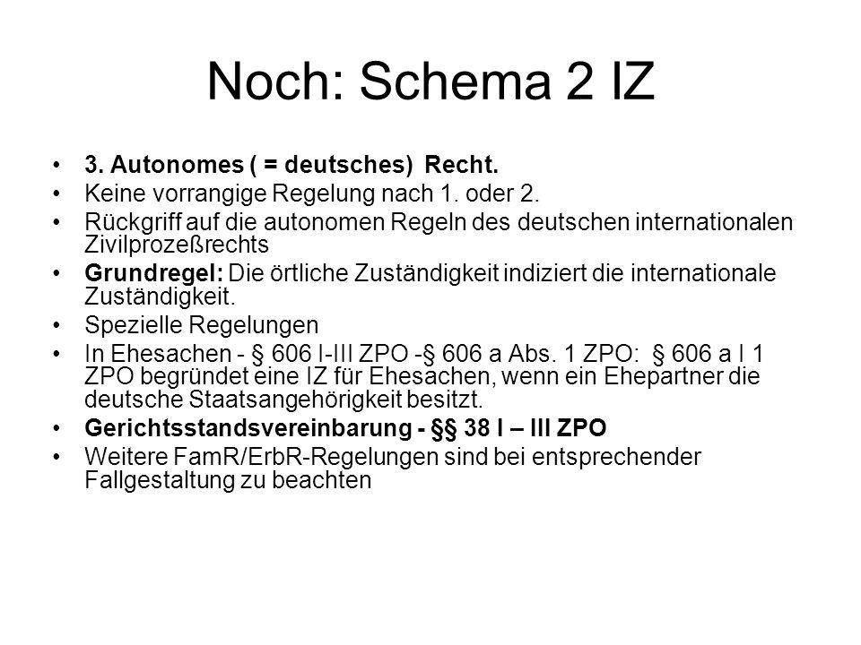 Noch: Schema 2 IZ 3. Autonomes ( = deutsches) Recht.