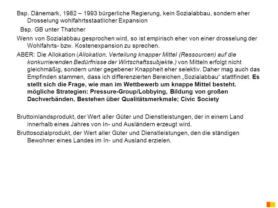 Bsp. Dänemark, 1982 – 1993 bürgerliche Regierung, kein Sozialabbau, sondern eher Drosselung wohlfahrtsstaatlicher Expansion