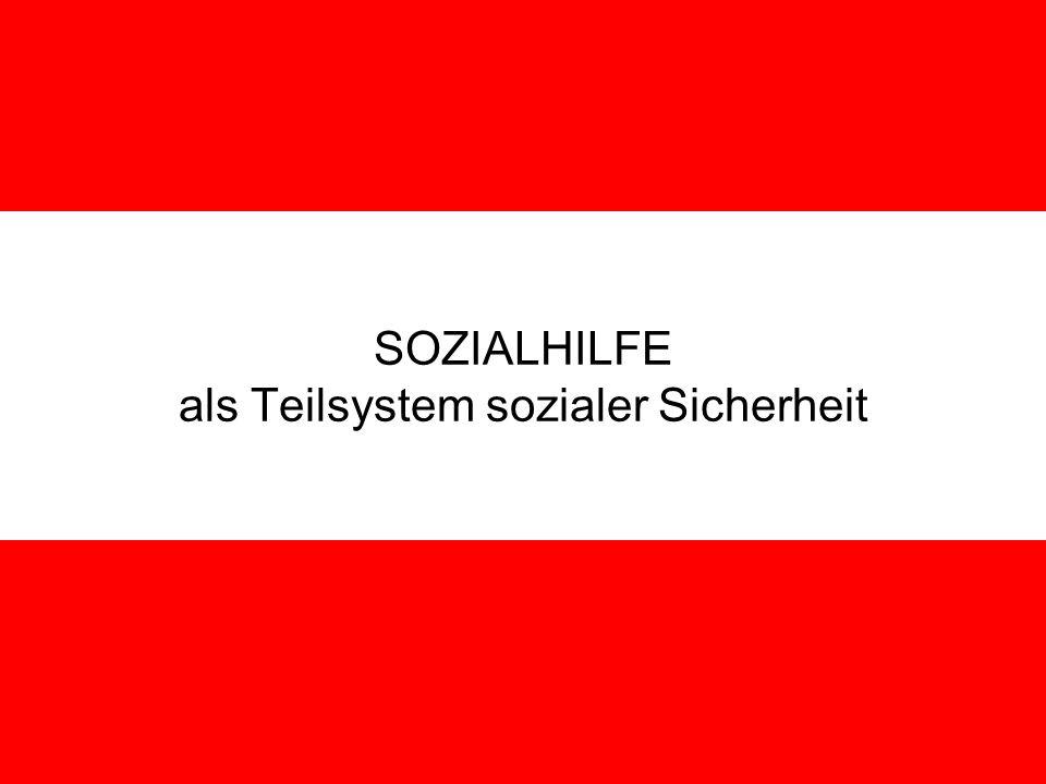 SOZIALHILFE als Teilsystem sozialer Sicherheit