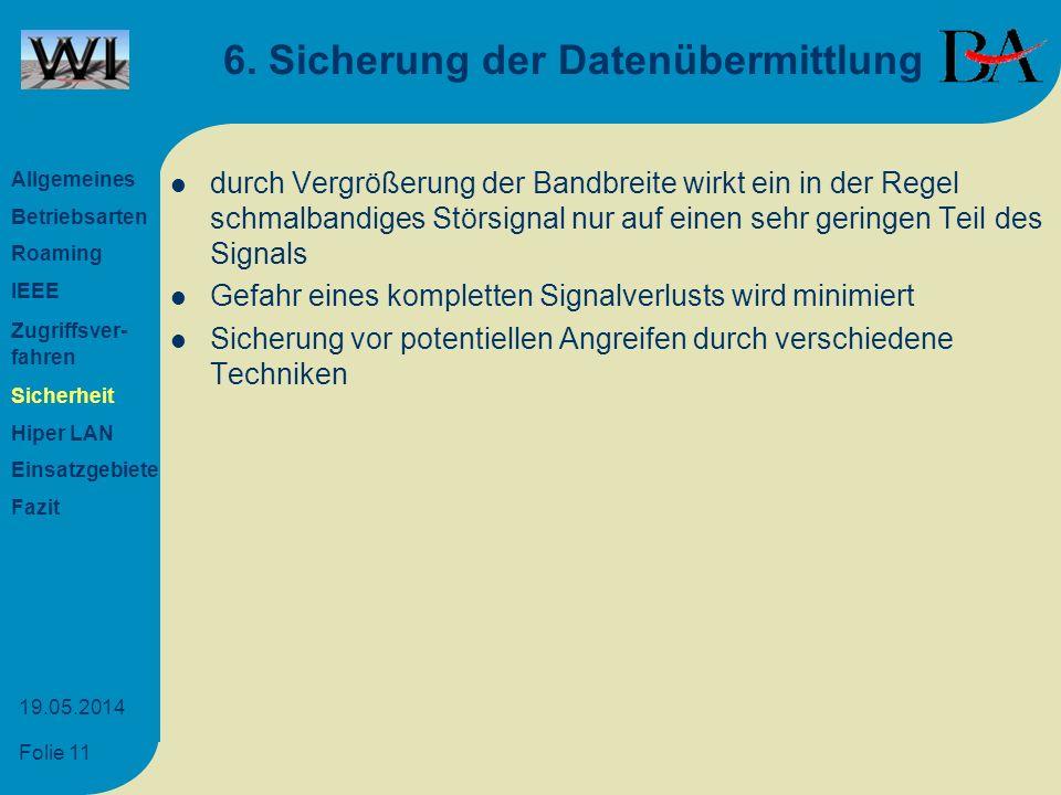 6. Sicherung der Datenübermittlung