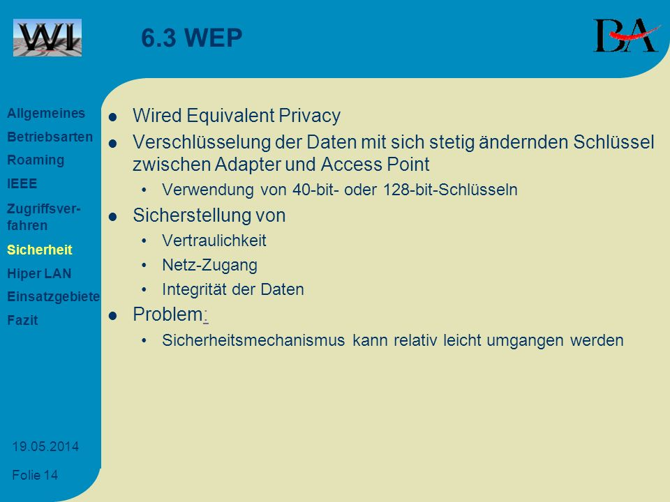 6.3 WEP Wired Equivalent Privacy