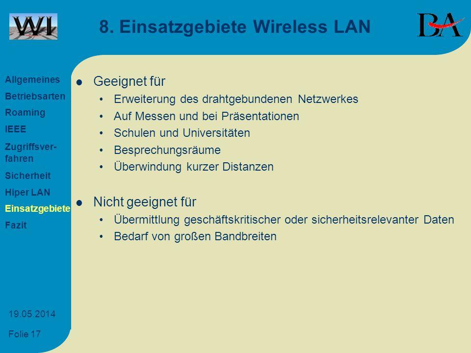 8. Einsatzgebiete Wireless LAN