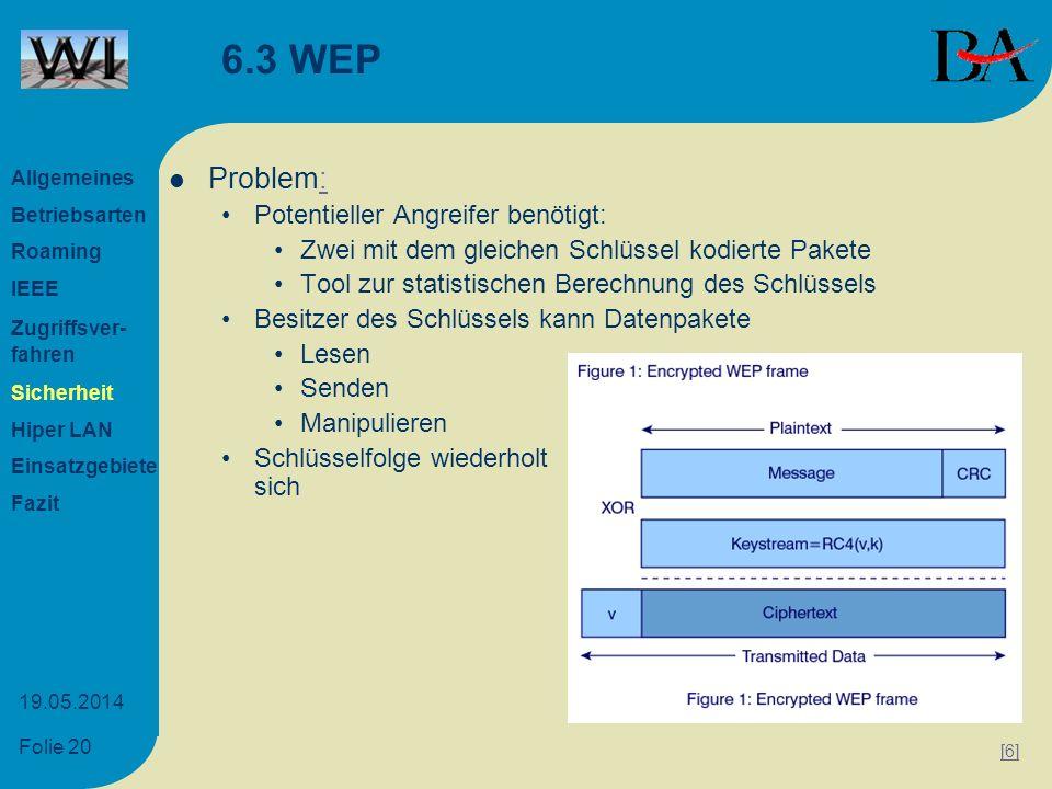 6.3 WEP Problem: Potentieller Angreifer benötigt: