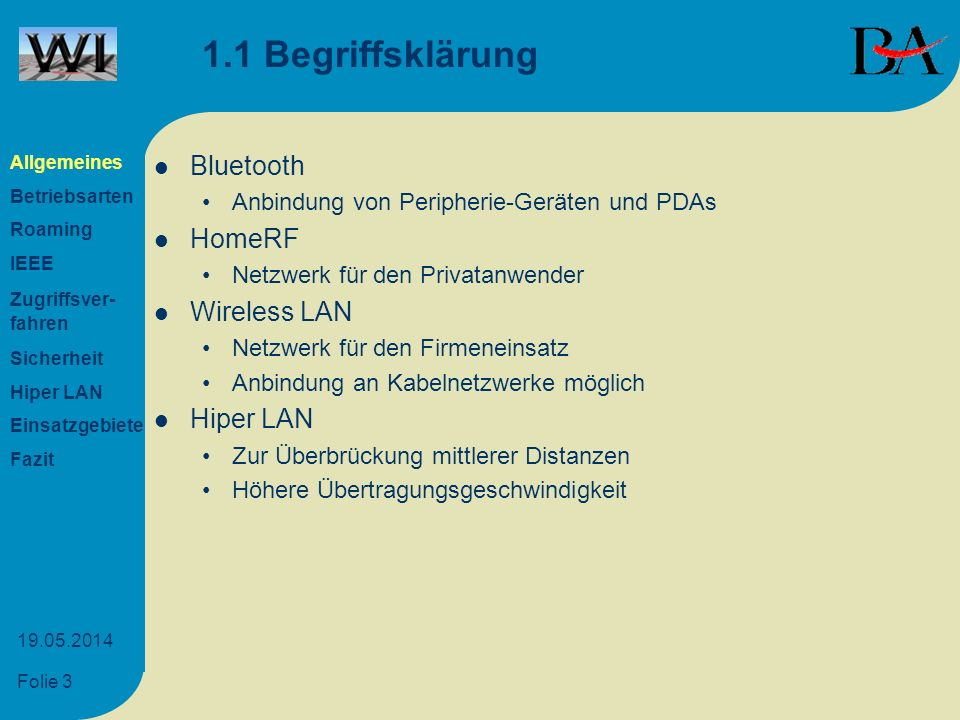 1.1 Begriffsklärung Bluetooth HomeRF Wireless LAN Hiper LAN