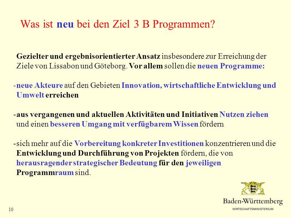 Was ist neu bei den Ziel 3 B Programmen