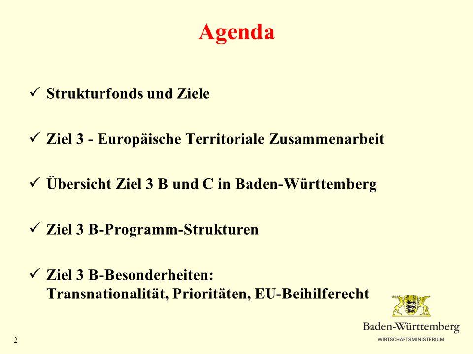 Agenda Strukturfonds und Ziele
