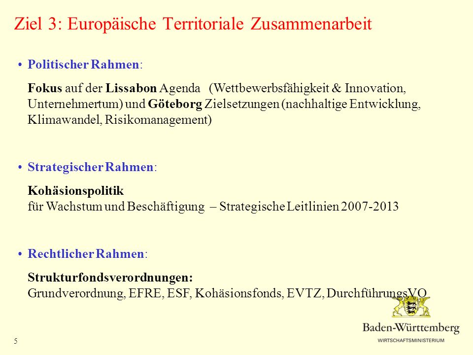 Ziel 3: Europäische Territoriale Zusammenarbeit
