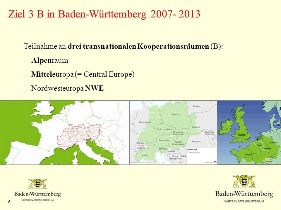 Ziel 3 B in Baden-Württemberg 2007- 2013