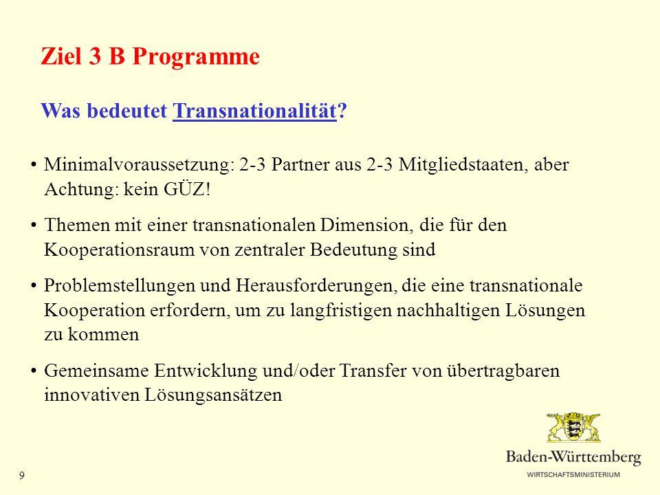 Ziel 3 B Programme Was bedeutet Transnationalität