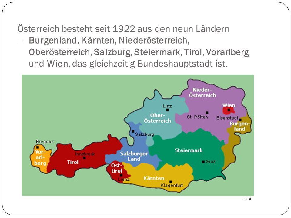 Österreich besteht seit 1922 aus den neun Ländern –