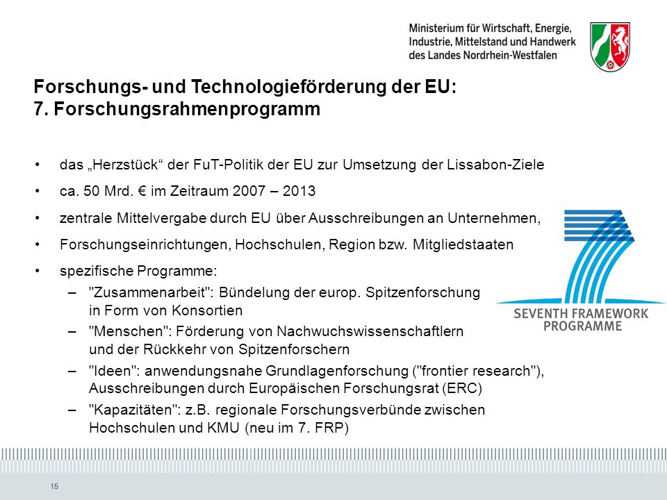Forschungs- und Technologieförderung der EU: 7