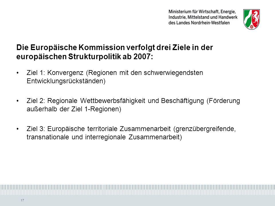Die Europäische Kommission verfolgt drei Ziele in der europäischen Strukturpolitik ab 2007: