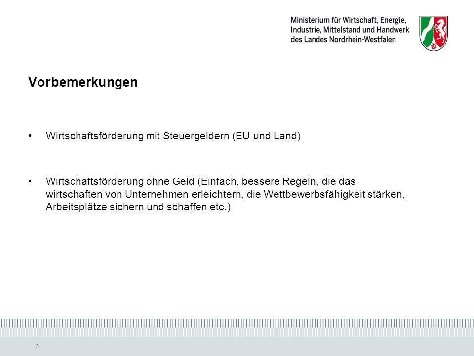 Vorbemerkungen Wirtschaftsförderung mit Steuergeldern (EU und Land)