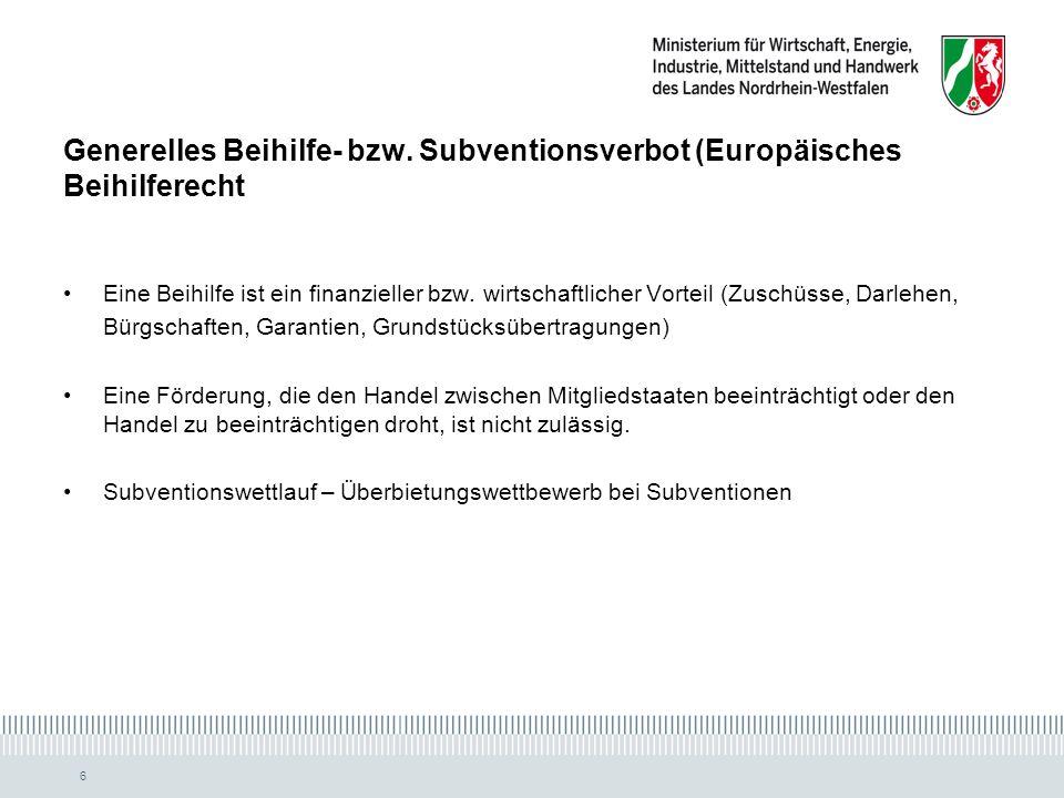 Generelles Beihilfe- bzw. Subventionsverbot (Europäisches Beihilferecht