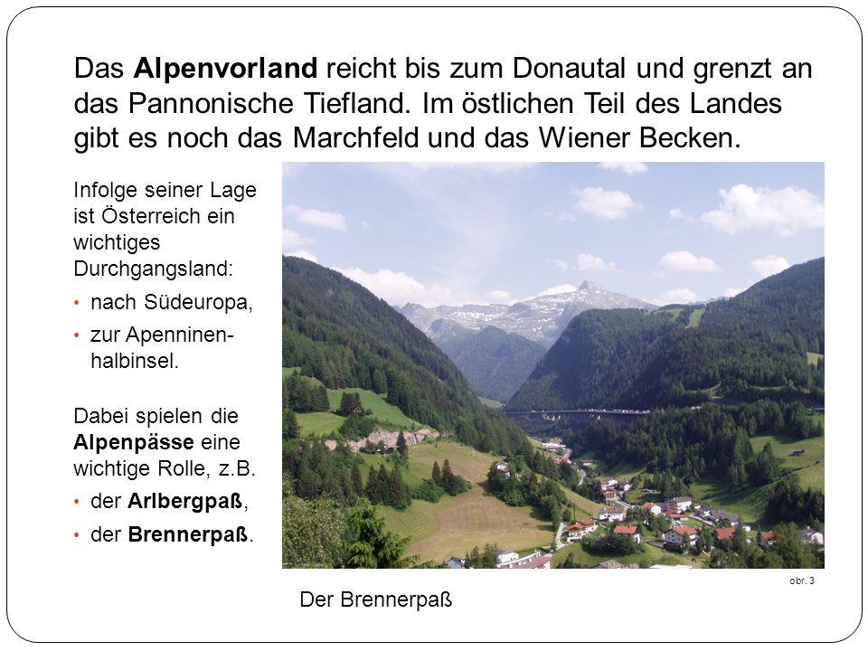 Das Alpenvorland reicht bis zum Donautal und grenzt an das Pannonische Tiefland. Im östlichen Teil des Landes gibt es noch das Marchfeld und das Wiener Becken.
