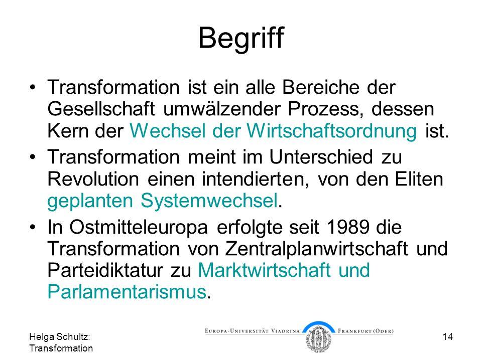 Begriff Transformation ist ein alle Bereiche der Gesellschaft umwälzender Prozess, dessen Kern der Wechsel der Wirtschaftsordnung ist.
