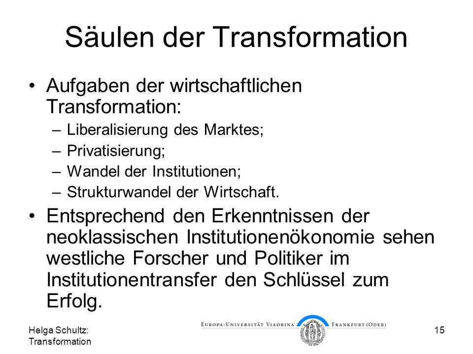 Säulen der Transformation