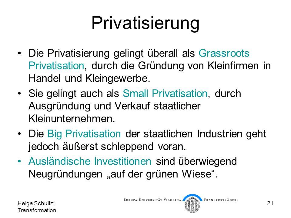 Privatisierung Die Privatisierung gelingt überall als Grassroots Privatisation, durch die Gründung von Kleinfirmen in Handel und Kleingewerbe.