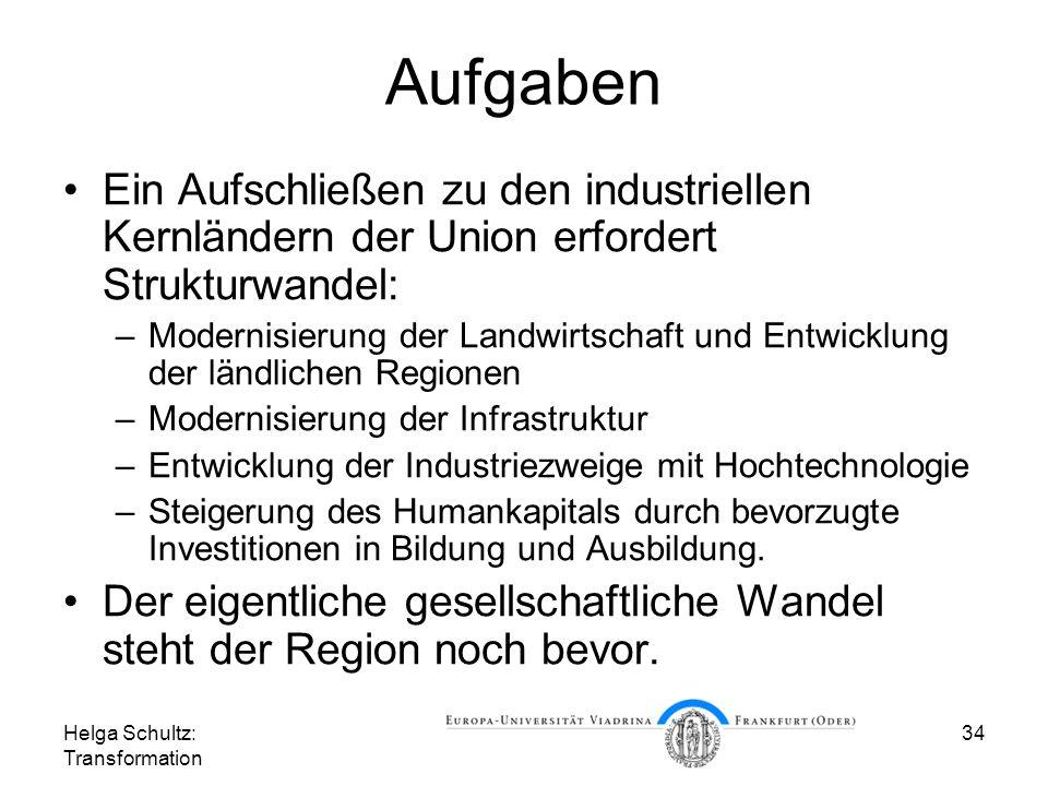 Aufgaben Ein Aufschließen zu den industriellen Kernländern der Union erfordert Strukturwandel: