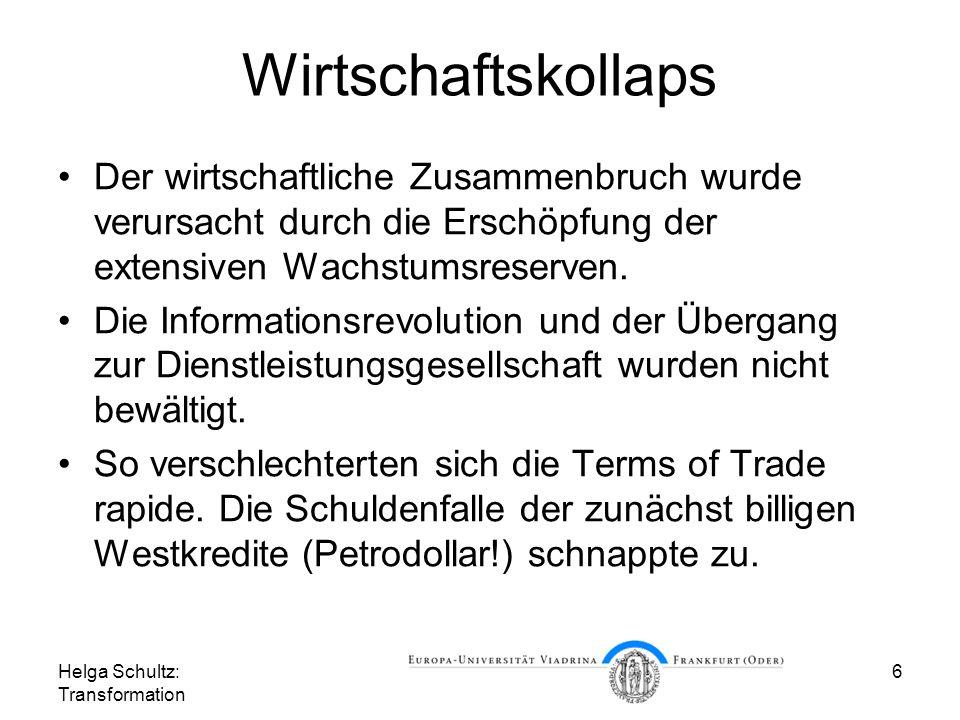Wirtschaftskollaps Der wirtschaftliche Zusammenbruch wurde verursacht durch die Erschöpfung der extensiven Wachstumsreserven.