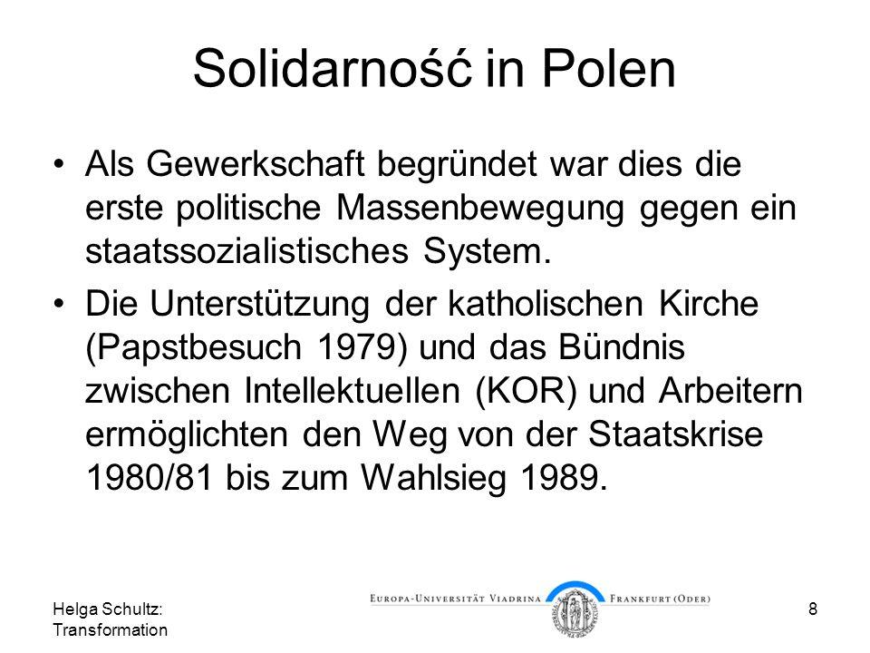 Solidarność in Polen Als Gewerkschaft begründet war dies die erste politische Massenbewegung gegen ein staatssozialistisches System.