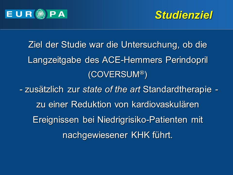 Studienziel Ziel der Studie war die Untersuchung, ob die Langzeitgabe des ACE-Hemmers Perindopril (COVERSUM)