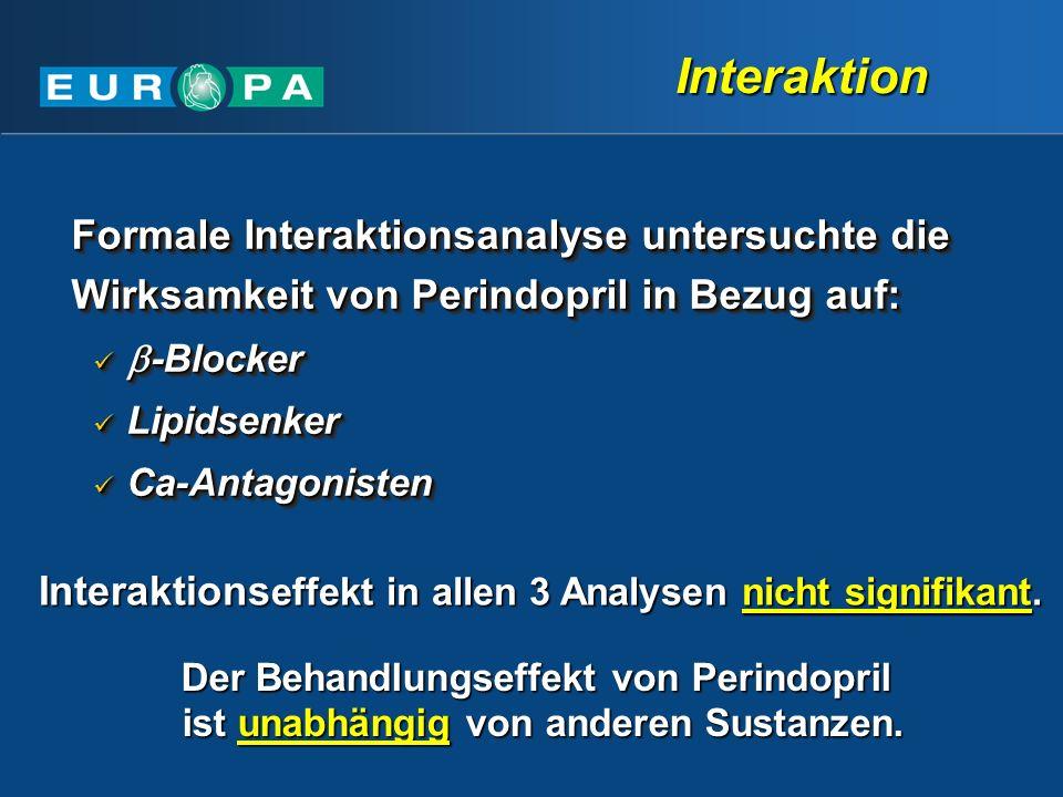 Interaktion Formale Interaktionsanalyse untersuchte die Wirksamkeit von Perindopril in Bezug auf: -Blocker.