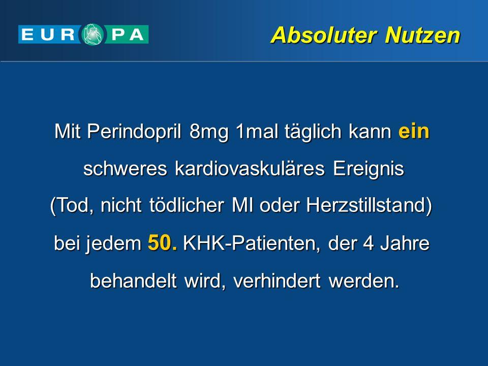 Absoluter Nutzen Mit Perindopril 8mg 1mal täglich kann ein schweres kardiovaskuläres Ereignis. (Tod, nicht tödlicher MI oder Herzstillstand)