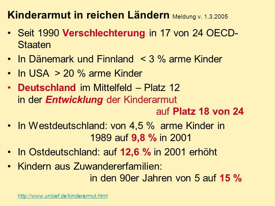 Kinderarmut in reichen Ländern Meldung v. 1.3.2005