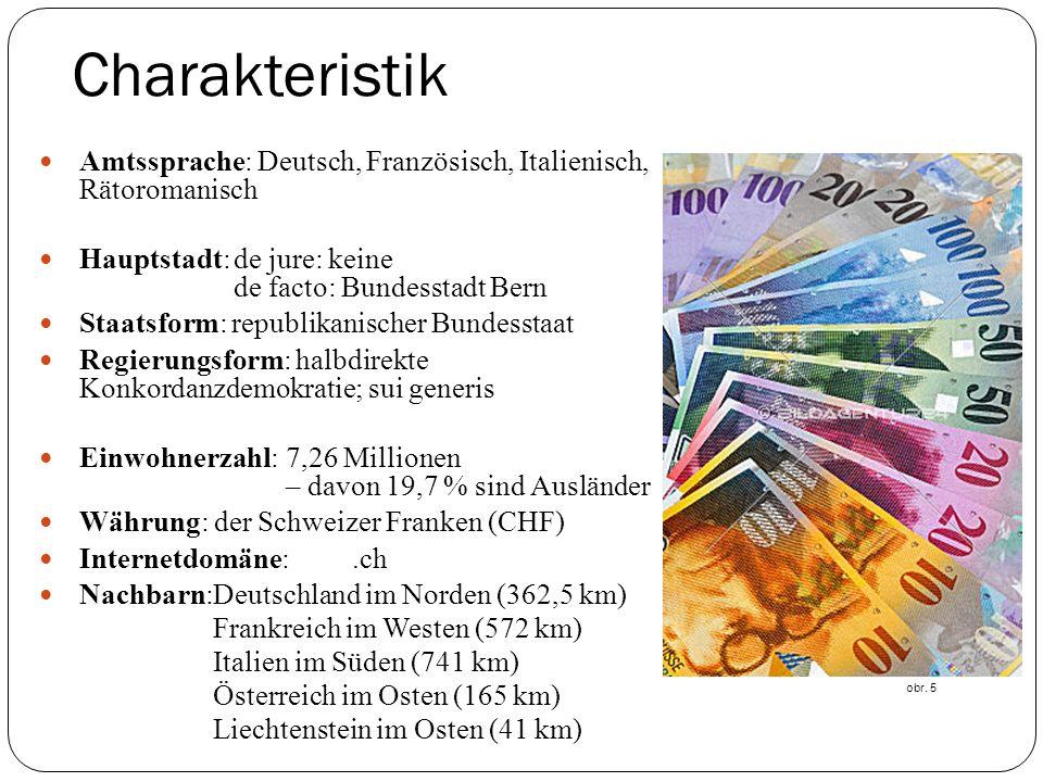 Charakteristik Amtssprache: Deutsch, Französisch, Italienisch, Rätoromanisch. Hauptstadt: de jure: keine.