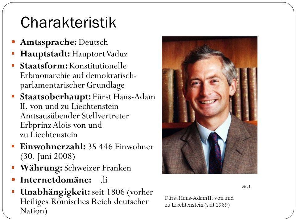 Charakteristik Amtssprache: Deutsch Hauptstadt: Hauptort Vaduz
