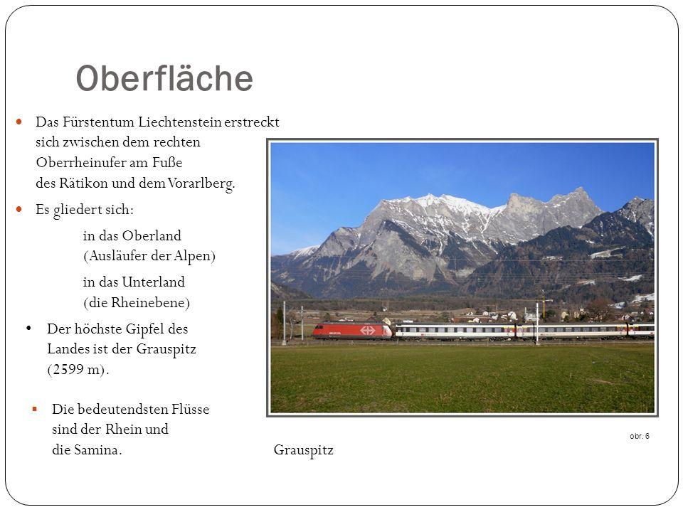 Oberfläche Das Fürstentum Liechtenstein erstreckt sich zwischen dem rechten Oberrheinufer am Fuße des Rätikon und dem Vorarlberg.