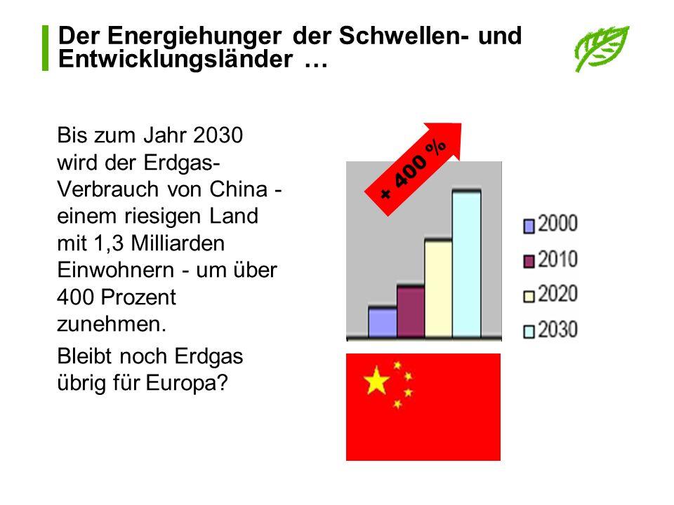 Der Energiehunger der Schwellen- und Entwicklungsländer …