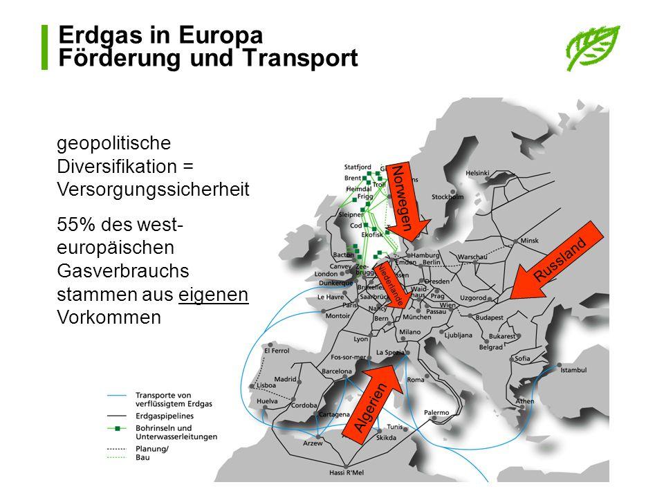 Erdgas in Europa Förderung und Transport