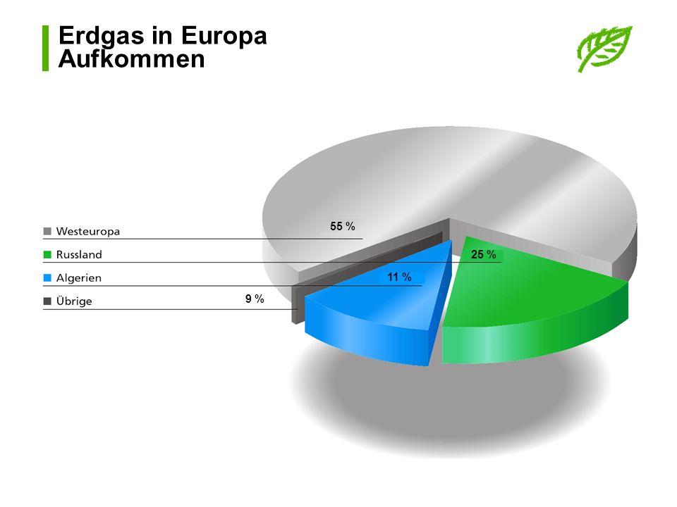 Erdgas in Europa Aufkommen